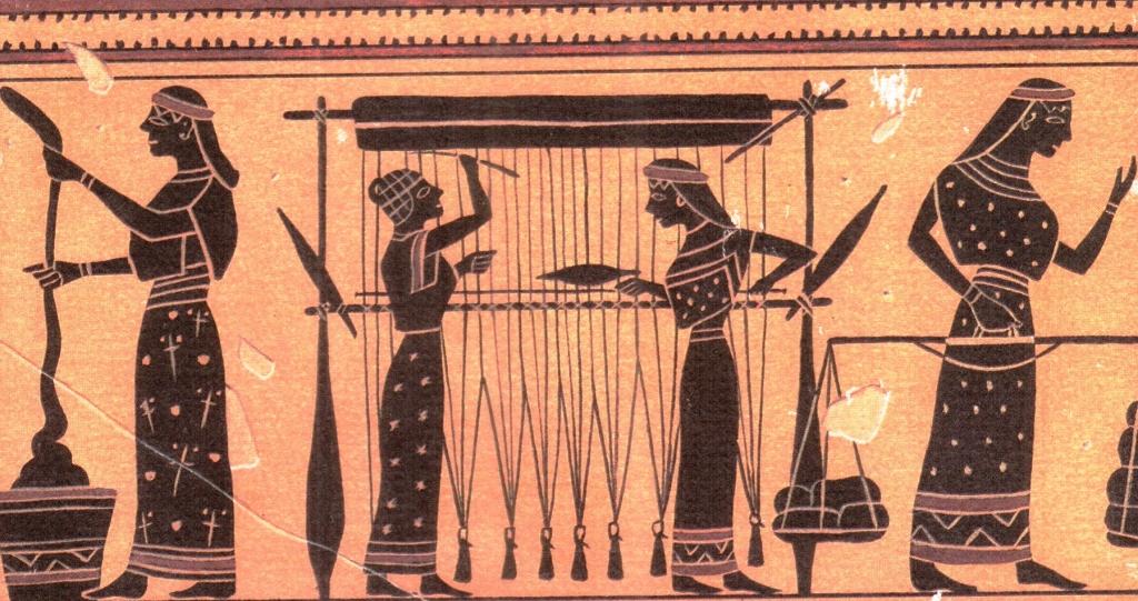 Weavers, Attic black-figured jug, 550 BC