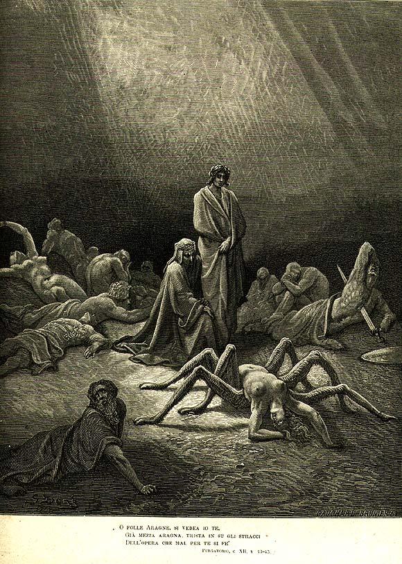 Arachne. llustration for Dante's Purgatorio of the Divine Comedy series Gustave Doré 1868